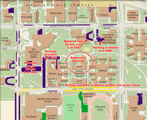 subset of University of Oregon parking map showing meeting building
